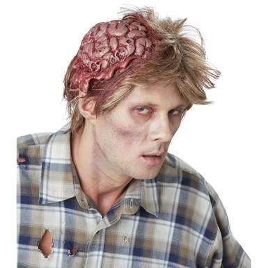 Adult No Brainer Half Halloween Mask with Hair