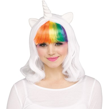 Adult Rainbow Unicorn Costume Wig