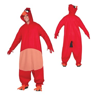 Adult Red Angry Birds Cozy Jumpsuit Costume