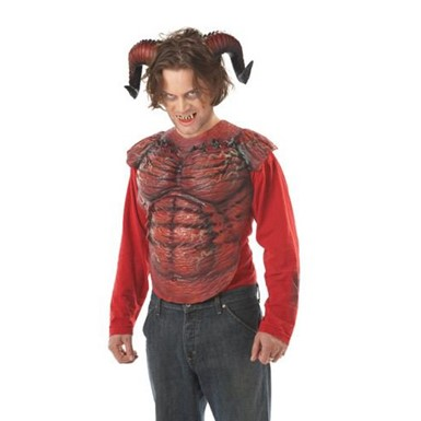 Adult Red Demon Horns w/ Teeth for Halloween Costume