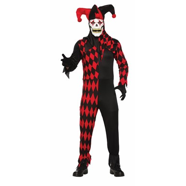 Adult Red Evil Jester Halloween Costume with Mask