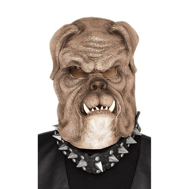 Adult Snarling Brown Bull Dog Halloween Mask