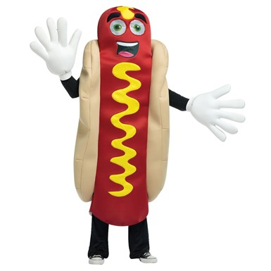 Adult Waving Hot Dog Mascot Halloween Costume