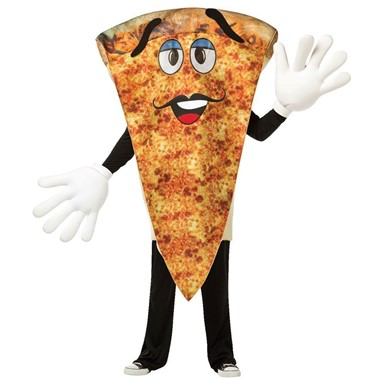 Adult Waving Pizza Mascot Halloween Costume