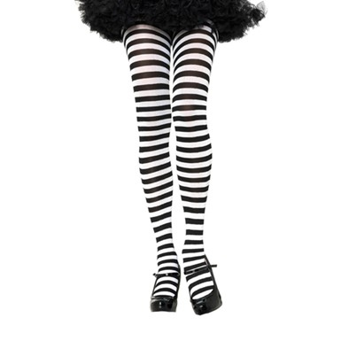 Black and White Striped Nylon Tights for Costume