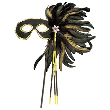 Black Cocktail Feather Mask With Stick Costume Accessory