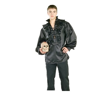 Black Satin Pirate Shirt - Mens