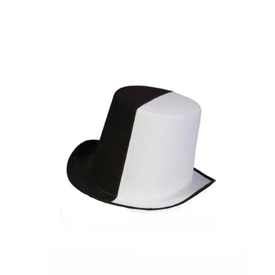 Black & White Mens Halloween Felt Top Hat