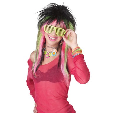 Black/Lime Rave Club Kid Wig for Halloween Costume