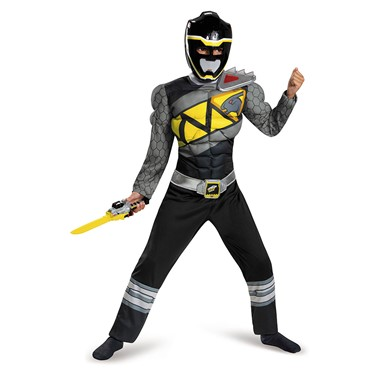 Boys Black Ranger Dino Charge Classic Muscle Costume