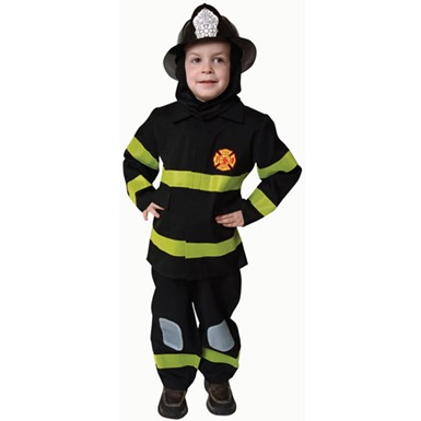Boys Deluxe Black Fire Fighter Costume