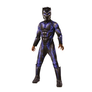 Boys Deluxe Black Panther Movie Battle Suit Costume
