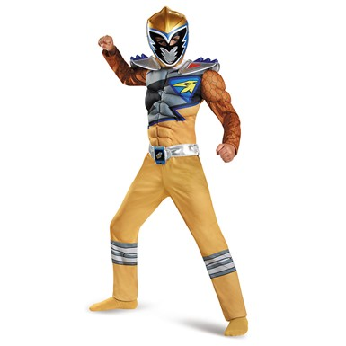 Boys Gold Ranger Dino Charge Classic Muscle Costume