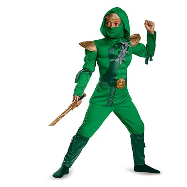 Boys Green Master Ninja Muscle Costume