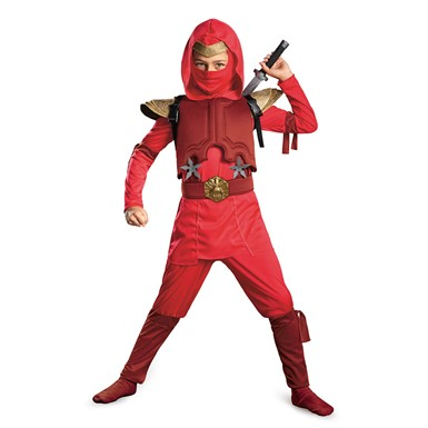 Boys Red Fire Ninja Deluxe Halloween Costume