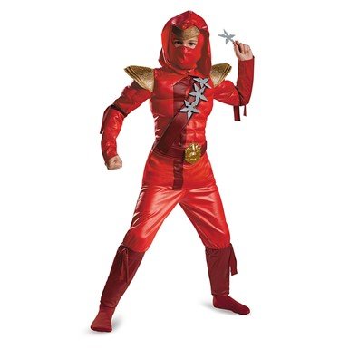 Boys Red Fire Ninja Muscle Costume
