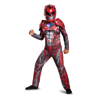 Boys Red Ranger Movie Muscle Costume
