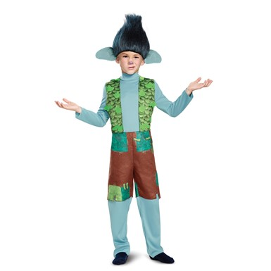 Boys Trolls Movie Deluxe Branch Costume with Wig