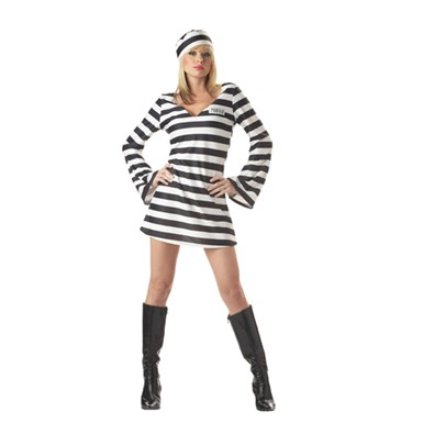 Convict Chick Costume - Black & White