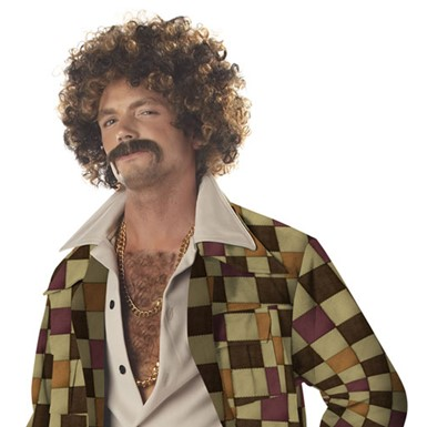 Disco Dirt Bag Wig and Moustache Mens Disco Wig