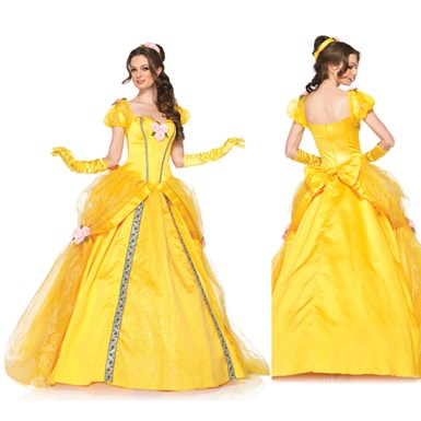 Disney Princess Womens Deluxe Belle Ball Gown Costume