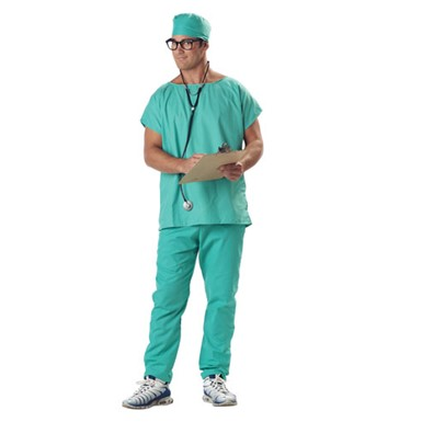 Doctors Scrubs Adult Mens Halloween Costume