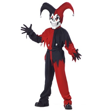 Evil Jester Child Costume - Red & Black