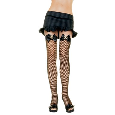 Fishnet Thigh Highs - Dollar Sign Bow
