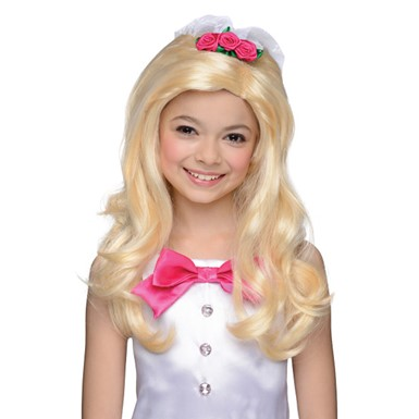 Girls Bride Barbie Halloween Costume Accessory Wig