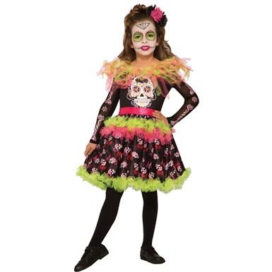 Girls Day of the Dead Dress Costume