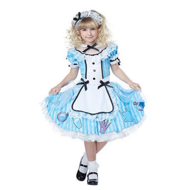 Girls Deluxe Alice in Wonderland Halloween Costume