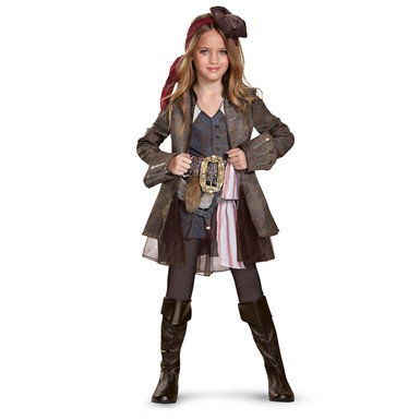 Girls Deluxe Captain Jack Sparrow Pirate Costume