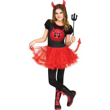 Girls Devil Emoji Movie Halloween Costume
