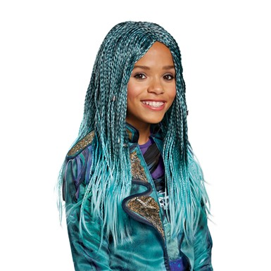 Girls Disney Descendants Uma Isle Look Blue Braids Wig