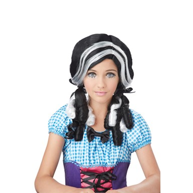 Girls Doll Curls Black and White Wig for Kids Costume