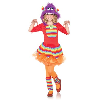 Girls Fuzzy Rainbow Monster Costume