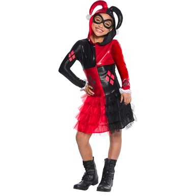 Girls Harley Quinn Hooded Dress Halloween Costume