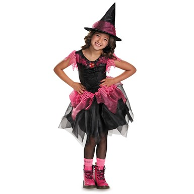 Girls Pink Bubble Gum Witch Costume