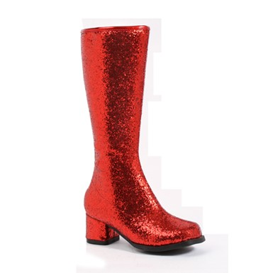 Girls Red Glitter Go Go Boots - Dora