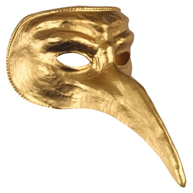 Gold Venetian Mask with Beak for Halloween Costume