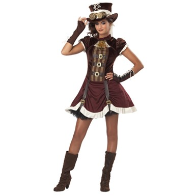 Gothic Steampunk Girl Tween Halloween Costume