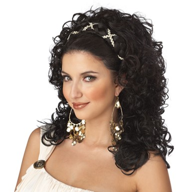 Grecian Goddess Brown Wig Halloween Costume Accessory