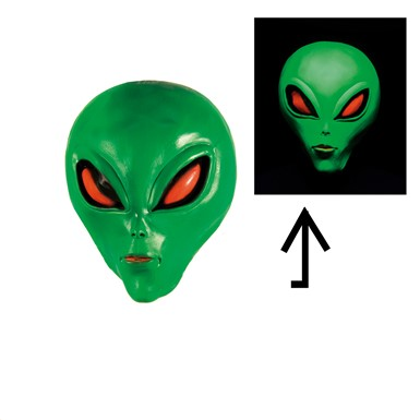 Green Blacklight Glowing Alien Mask