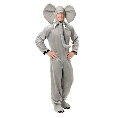 Grey Elephant Animal Mascot Adult Halloween Costume
