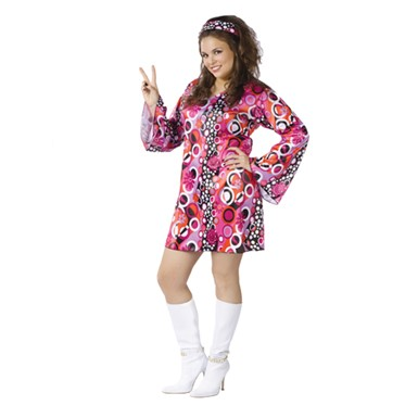 Hippie Chick Adult Plus Size Halloween Costume (16-20)