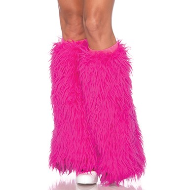 Hot Pink Furry Leg Warmers Womens Costume Accessory
