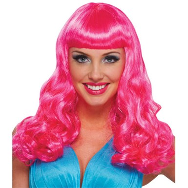 Hot Pink Party Girl Adult Womens Costume Wig