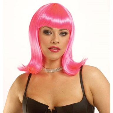 Hot Pink Short Singing Star Halloween Costume Wig