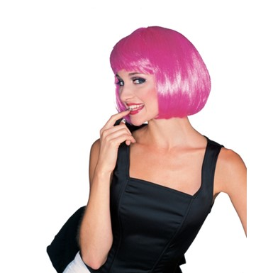 Hot Pink Super Model Bob Wig for Sexy Halloween Costume