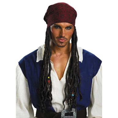 Jack Sparrow Hair with Headband - Adult